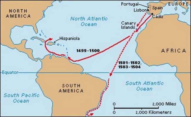 Америго Веспуччи — карта путешествий.