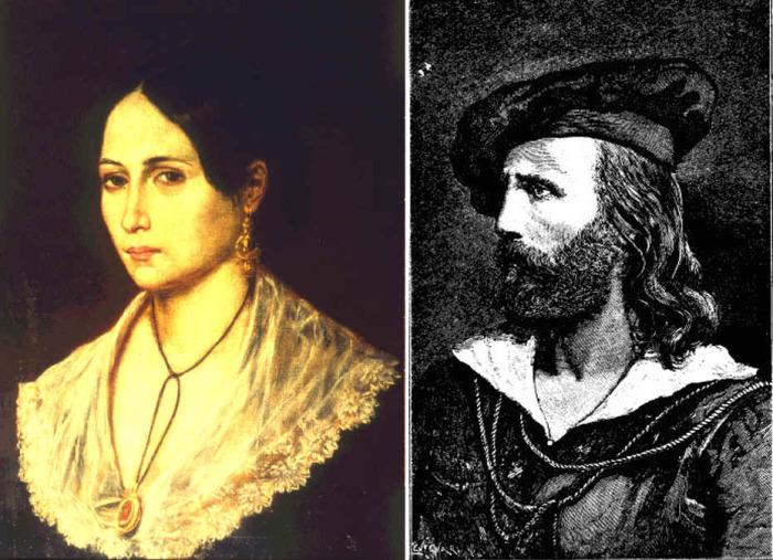 Портреты Аниты и Джузеппе Гарибальди